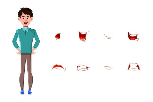 Personaggio dei cartoni animati di uomo d'affari con set di espressioni facciali diverse.