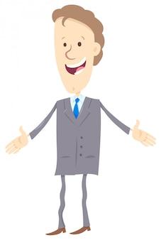 Personaggio dei cartoni animati uomo d'affari felice