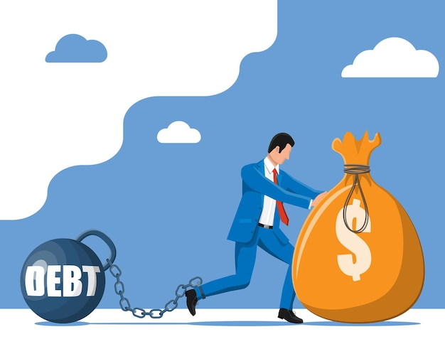Uomo d'affari incatenato a un grosso debito pesante con le catene. personaggio legato da catena al grosso manubrio. schiavitù corporativa dell'uomo d'affari. tasse, debiti, tasse, crisi e bancarotta. illustrazione vettoriale piatta