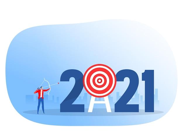 Tiro con l'arco del personaggio dell'uomo d'affari che spara agli obiettivi sul concetto di messa a fuoco del raggiungimento del 2021 anno di successo illustrazione vettoriale