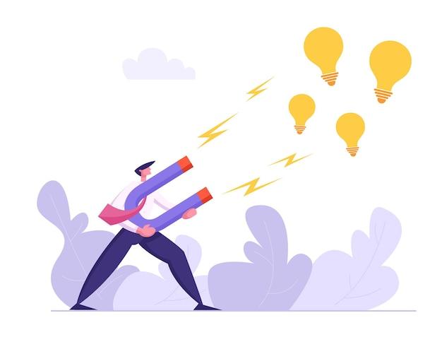 Carattere dell'uomo d'affari che attrae l'illustrazione della lampadina di idea creativa