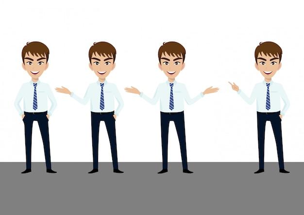 Carattere dell'uomo d'affari o cartone animato di uomo d'affari in diverse pose insieme