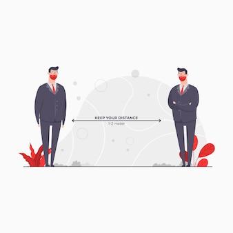 Uomo d'affari carattere concetto illustrazione mantenere la distanza soggiorno salvare pandemia di isolamento del virus corona