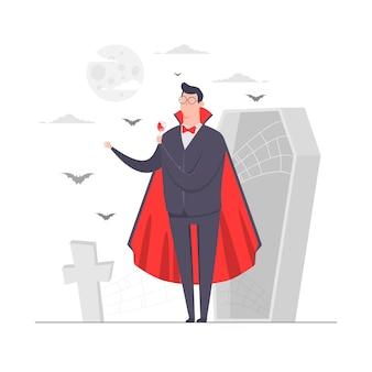 Illustrazione di concetto del carattere dell'uomo d'affari vampiro che beve sangue cimitero spaventoso della bara di halloween