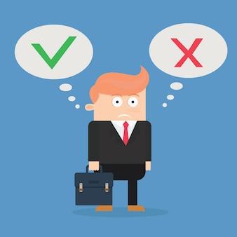 Uomo d'affari confuso tra sì o no disegno vettoriale