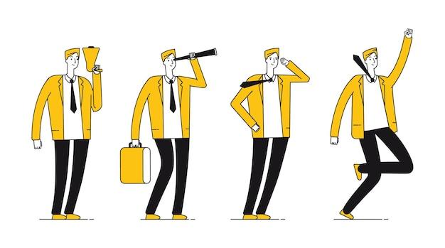 Carattere dell'uomo d'affari. imprenditore di successo piatto in diverse pose. illustrazione di vettore maschio linea felice. carattere dell'uomo d'affari, uomo professionale aziendale