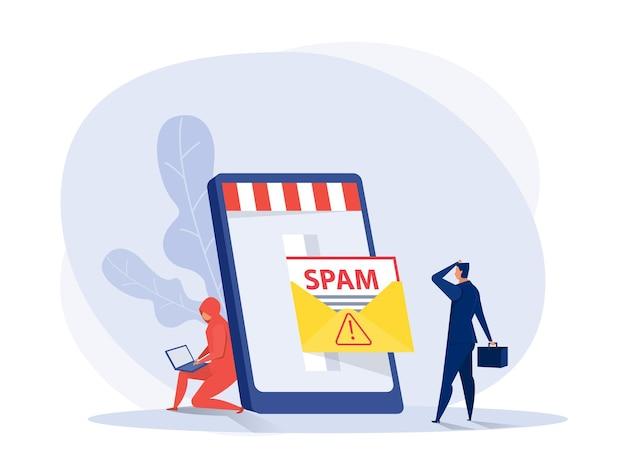 Carattere dell'uomo d'affari che tiene la sua testa dalla busta con avviso e notifica di avviso. email di spam