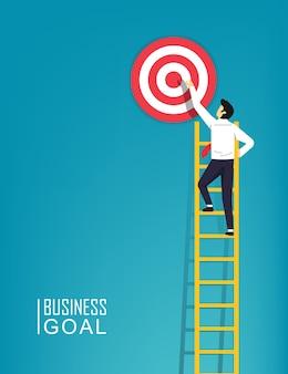 Il carattere dell'uomo d'affari sta salendo un obiettivo della scala all'illustrazione del simbolo dell'obiettivo. passo dopo passo per avere successo negli affari e nella carriera.