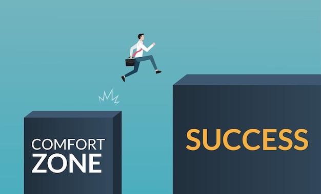 Carattere dell'uomo d'affari che lascia la zona di comfort per raggiungere il concetto di successo