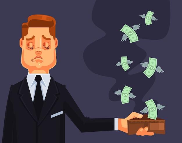 Il carattere dell'uomo d'affari ha perso soldi.