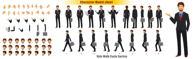 Foglio di modello del personaggio dell'uomo d'affari con il foglio di camminata foglio di sprite di animazione