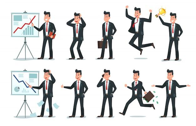Carattere di uomo d'affari. impiegati d'ufficio, lavoratore stanco di finanza e insieme dell'illustrazione di vettore del fumetto dei caratteri di affari