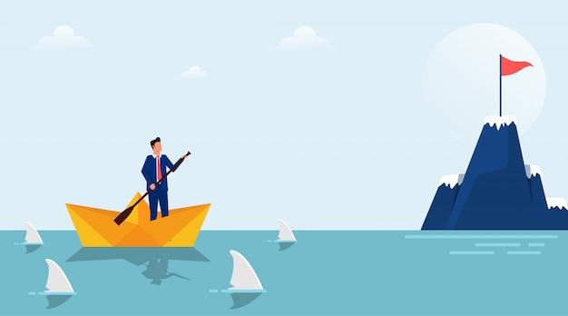 Carattere dell'uomo d'affari sulla barca di carta circondato dall'illustrazione degli squali.