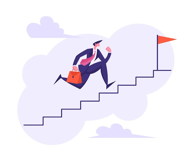 Carattere dell'uomo d'affari che corre sulle scale per l'illustrazione superiore