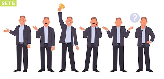 Set di caratteri dell'uomo d'affari manager dell'uomo in diverse pose e situazioni la persona parla al telefono