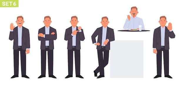 Set di caratteri dell'uomo d'affari manager dell'uomo in varie pose e situazioni gesto di saluto della persona