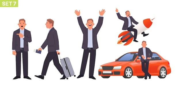 Set di caratteri dell'uomo d'affari manager dell'uomo in varie pose e situazioni la persona indica sorpresa