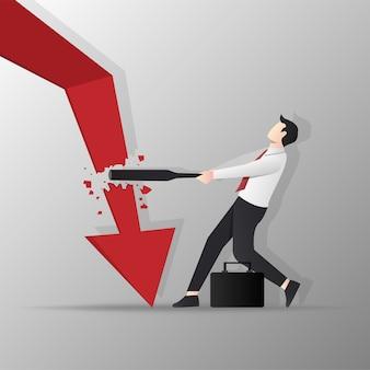 Carattere dell'uomo d'affari che colpisce il concetto di freccia rossa