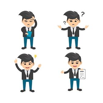 L'insieme del piano di vettore del carattere dell'uomo d'affari in varie pose ha messo 2
