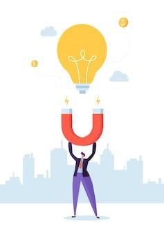 Carattere dell'uomo d'affari con il grande magnete che attrae la nuova lampadina di idea. concetto di innovazione aziendale.