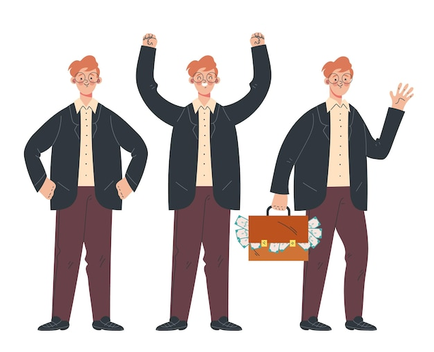 Carattere dell'uomo d'affari con diverse azioni impostate