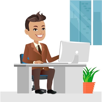 Carattere dell'uomo d'affari che lavora su un computer portatile alla scrivania in ufficio