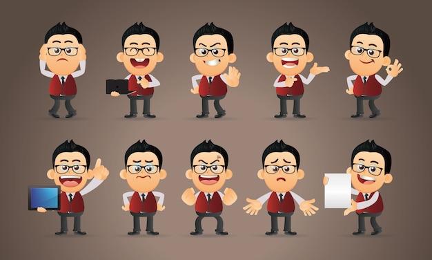 Personaggi dell'uomo d'affari in diverse pose