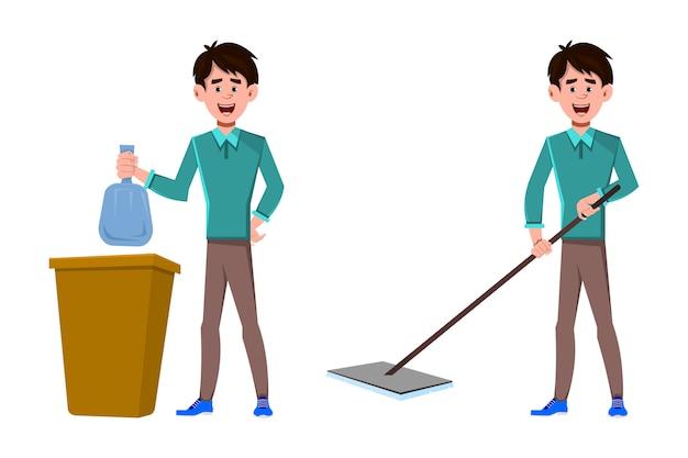 Uomo d'affari che pulisce il pavimento e mette il sacco della spazzatura nel cestino
