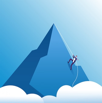 Montagna rampicante dell'uomo d'affari. sfida, perseveranza e crescita personale, impegno nella carriera.