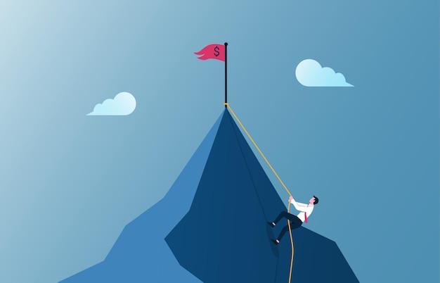 Imprenditore arrampicata in montagna illustrazione. motivazione aziendale e impegno nel concetto di carriera.