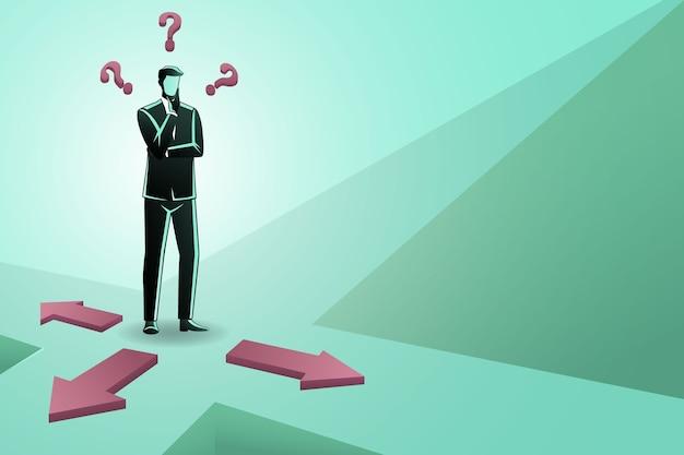 Uomo d'affari confuso circa tre direzioni