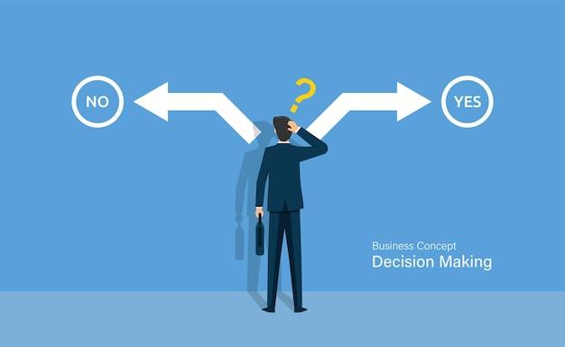 Uomo d'affari che confonde tra scelta sì o no, concetto di processo decisionale