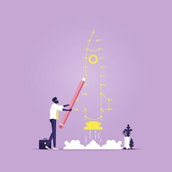 L'uomo d'affari collega il punto come metafora del lancio del razzo, concetto di nuovo progetto di affari