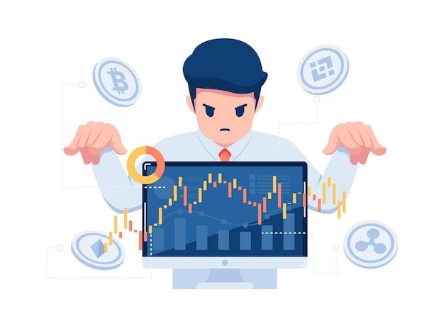 Uomo d'affari che controlla il mercato del trading di criptovaluta. manipolazione del mercato delle criptovalute e concetto di investimento finanziario.