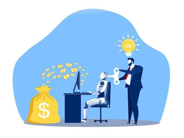 L'uomo d'affari che controlla un robot che lavora fa soldi con il controllo chiave intelligenza artificiale