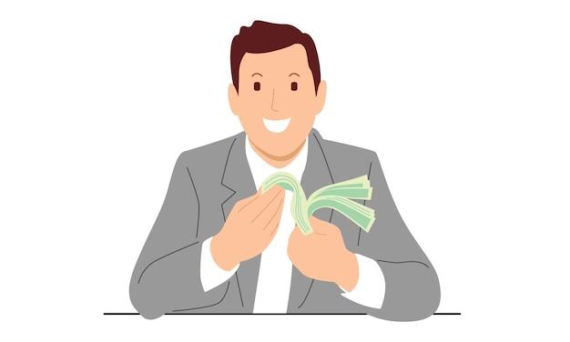 Uomo d'affari che conta soldi