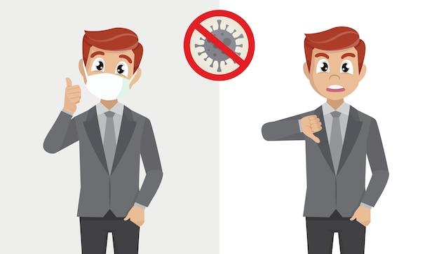 Uomo d'affari che copre il viso con mascherina medica e mostra i pollici in su e uomo d'affari non deve affrontare con i pollici che mostra medici giù