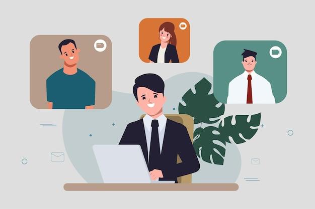 Uomo d'affari spazio di coworking conferenza comunicazione infografica sfondo design piatto