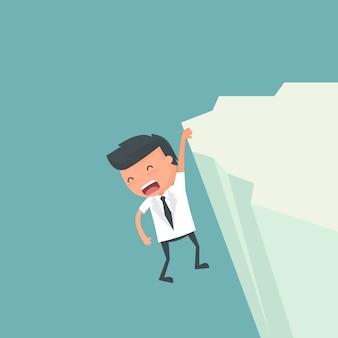 Il pericolo dell'uomo d'affari sulla scogliera dell'illustrazione di rischio d'impresa