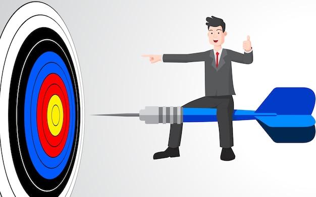 Uomo d'affari sul concetto del fumetto della fucilazione del dardo.
