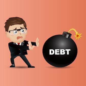 Uomo d'affari. concetto di debito
