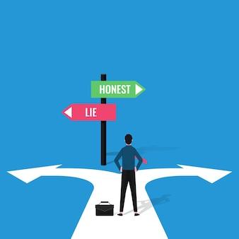 Concetto di decisione dell'uomo d'affari con segni di illustrazione onesta e menzogna