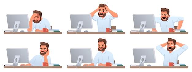 Uomo d'affari al desktop lavoratore di successo stanco il dipendente della scadenza è arrabbiato emozioni diverse