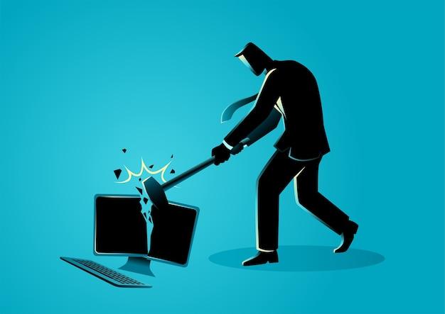 Uomo d'affari distruggendo computer desktop con mazza, illustrazione