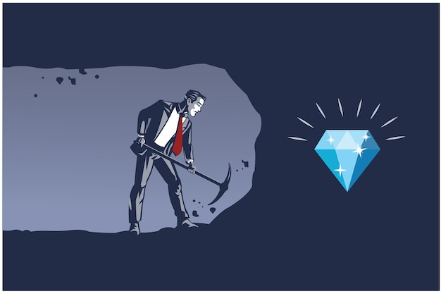 Uomo d'affari che scava con il piccone per ottenere il diamante. illustrazione di affari concetto di lavoro persistente