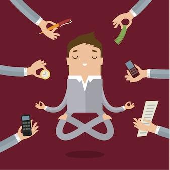 Uomo d'affari che fa yoga