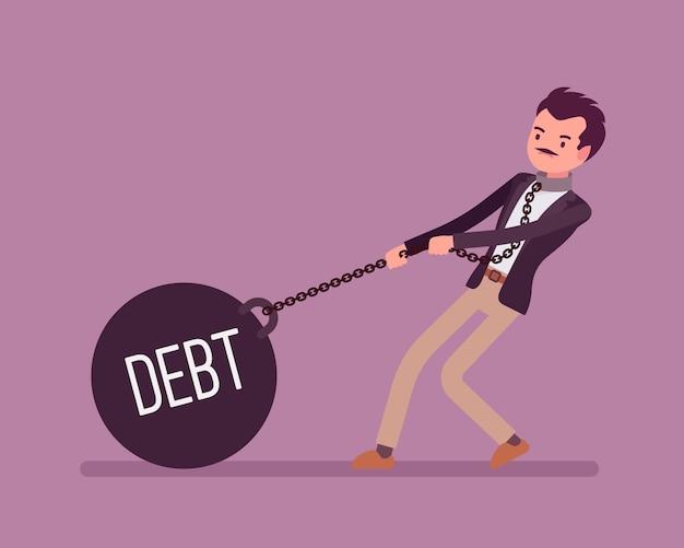 Uomo d'affari trascinando un debito di peso sulla catena