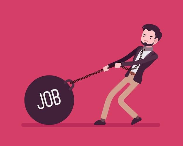 Uomo d'affari trascinando un lavoro di peso sulla catena