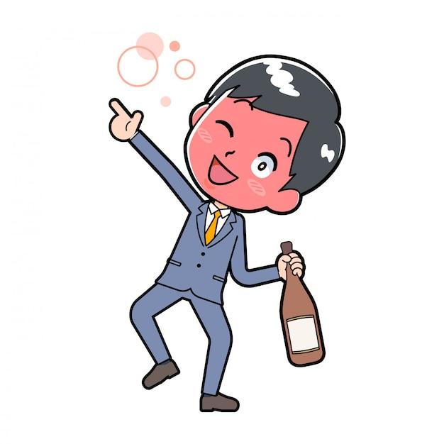Uomo d'affari che beve alcol
