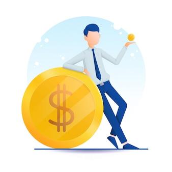 Illustrazione della moneta dei soldi dei guadagni dell'uomo d'affari